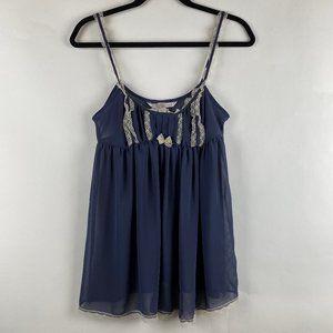 VICTORIA'S SECRET Blue Cream Lace Slip Dress Sz S